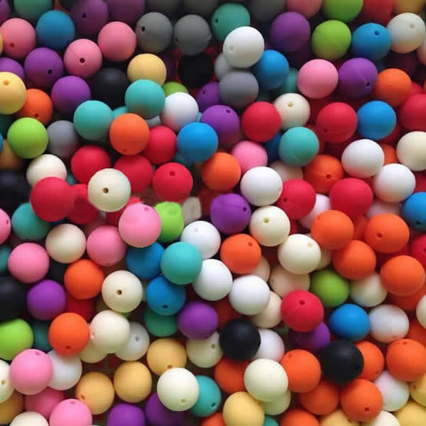 YYW 100pcs 10/12mm Mixed Beads DIY for Necklace Jewelry Safe Food Grade Mom Baby Teething Nursing Chewing Round Silicone Beads ...