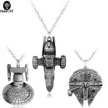 Wholesale Star Trek Star Wars Spacecraft Necklace Pendants Millennium Falcon Star Wars Vintage Jewelry Men Necklaces Maxi Punk