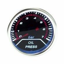 "Coche libre Del envío 2 ""(52mm) de Aceite indicador de presión 0-7 bar Con Sensor de Humo Lente Prensa de aceite Gauge/metro Auto/Calibrador Auto YC100571"