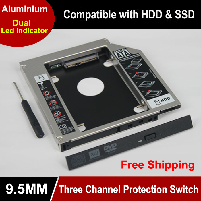 Universal 2.5 2nd 9.5mm ssd Hd SATA Hard Disk Drive HDD Caddy Adapter Bay For Cd Dvd Rom Optical Bay new 1tb 2nd hdd optical bay sata3 2 5 second hard disk drive for asus n550jv s550 s551lb s551 s46 k46 a46 x450 notebook case