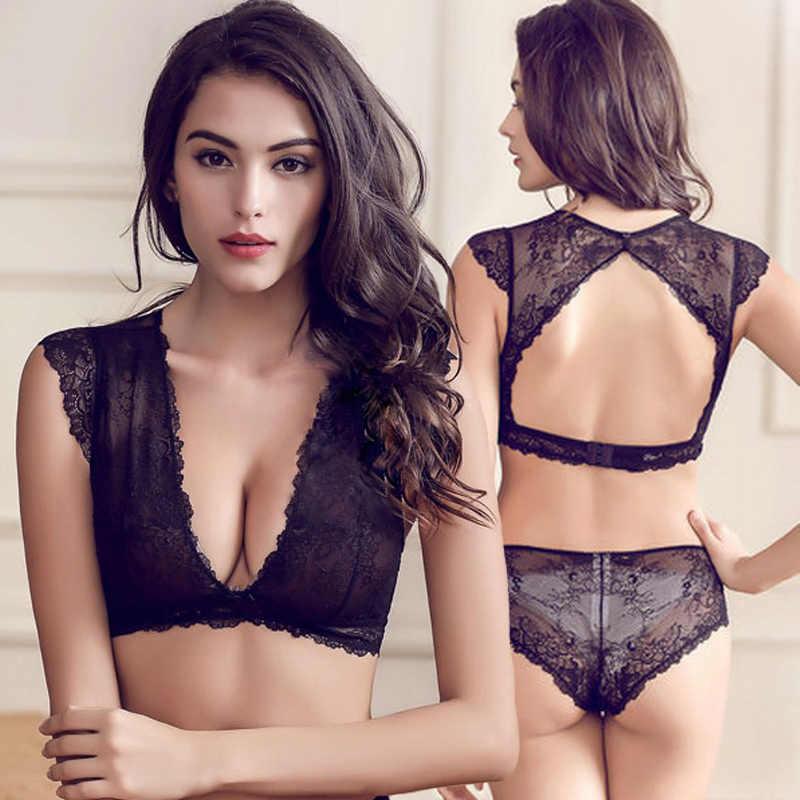 ... Victoria underwear for women sexy bra set lace thin see through bras  wireless U.S back plunge ... f29f68752
