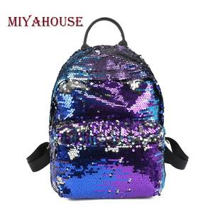 Miyahouse Fashion Colorful Sequins Design Backpack For Teenage Girls PU  Leather Small Backpack Female Shoulder Bag 40bb02720b