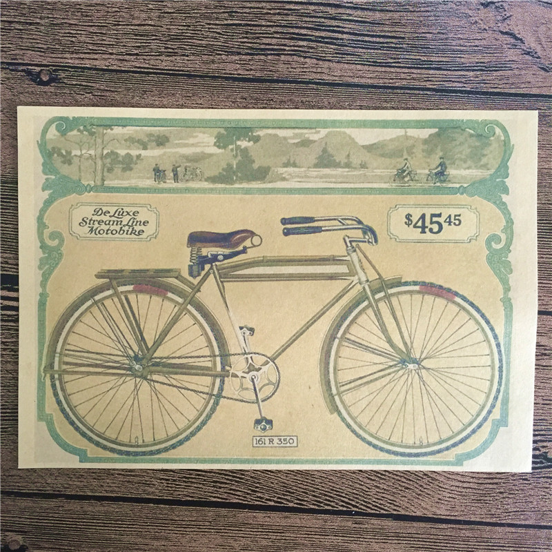 Direct selling RZCB-010 home decor Moto bike cuadros decorative painting vintage poster kraft paper for living room 42x30 cm
