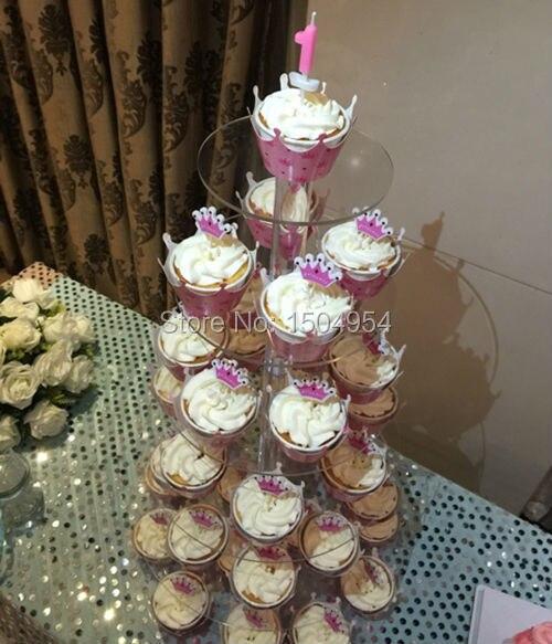 Runde 6 Tier klaren Acryl Cupcake Display Stand/acryl kuchen stehen-in Ständer aus Heim und Garten bei  Gruppe 2