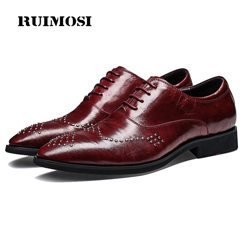 RUIMOSI Luxury Man Studded Brogue Shoes Genuine Leather Bridal Oxfords Pointed Toe Derby Men's Dress Flats For Wedding EI22