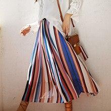 Stripe skirts in spring and summer long elastic waist pleated skirt Bohemian beach