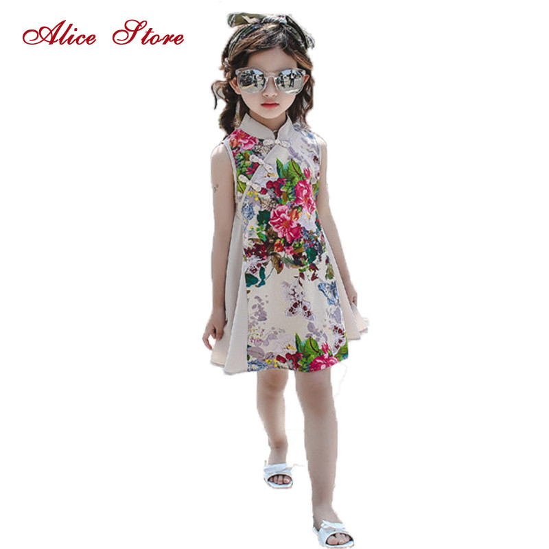 2017 new children's cheongsam summer girl princess retro dress Chinese wind children's clothing baby print Plate buckle dresses free shipping new red hot chinese style costume baby kid child girl cheongsam dress qipao ball gown princess girl veil dress