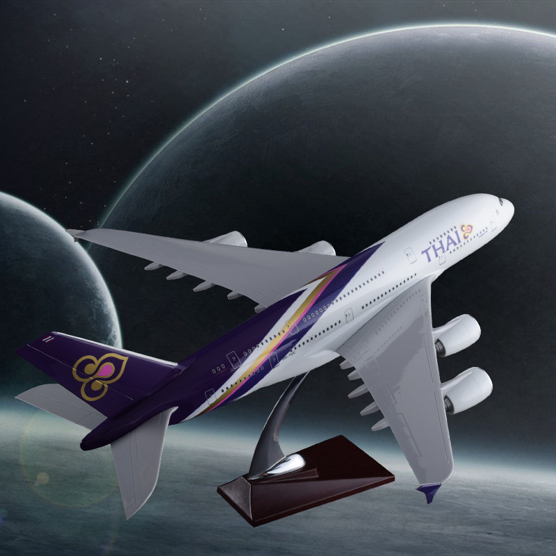 45cm Resin Thailand Airlines Airplane Model THAI Airbus A380 Airways Aircraft Model Creative Gifts Airplane Collection Souvenir выключатель проходной одноклавишный с подсветкой werkel aluminium серо коричневый wl07 skgsc 01 ip44 wl07 sw 1g 2w led