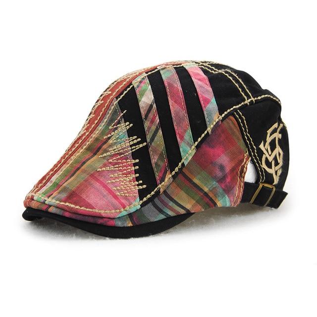 fb1b7d67 female french berets plaid cap adjustable casual retro beret duckbill hat  women men newsboy bone casquette flat peaked gorras