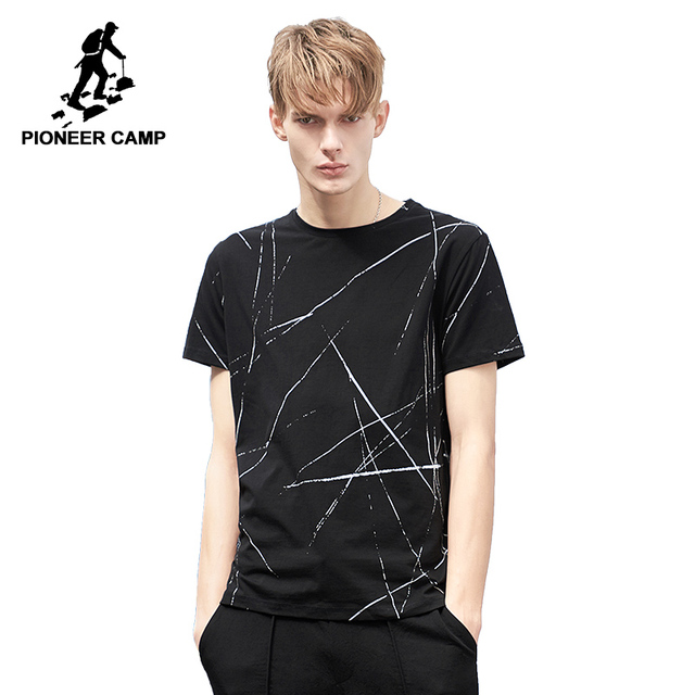 Pioneer Camp fashion pattern men T shirt brand-clothing casual summer  Tshirt male qulaity stretch