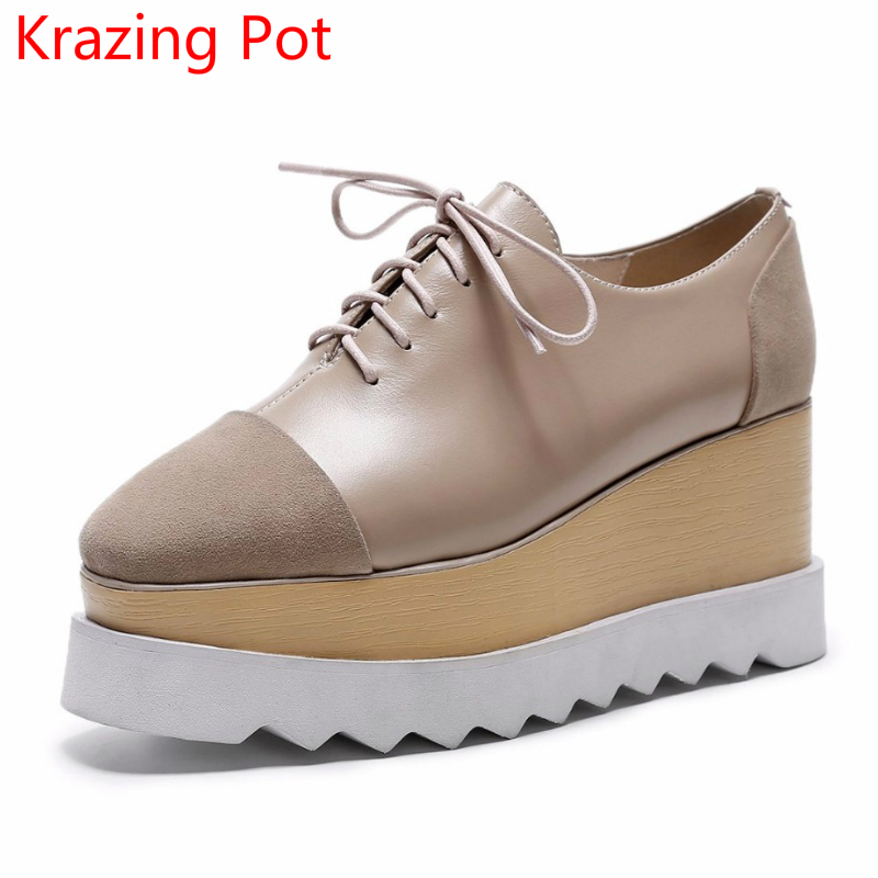 2018 Superstar Brand Shoes Kid Suede Genuine Leather High Heels Lace Up Women Autumn Pumps Wedges Sexy Platform Casual Shoes L12 fashion genuine leather shoes woman pumps 2016 new sexy wedges high heels round toe lace up women casual party shoes size 34 39