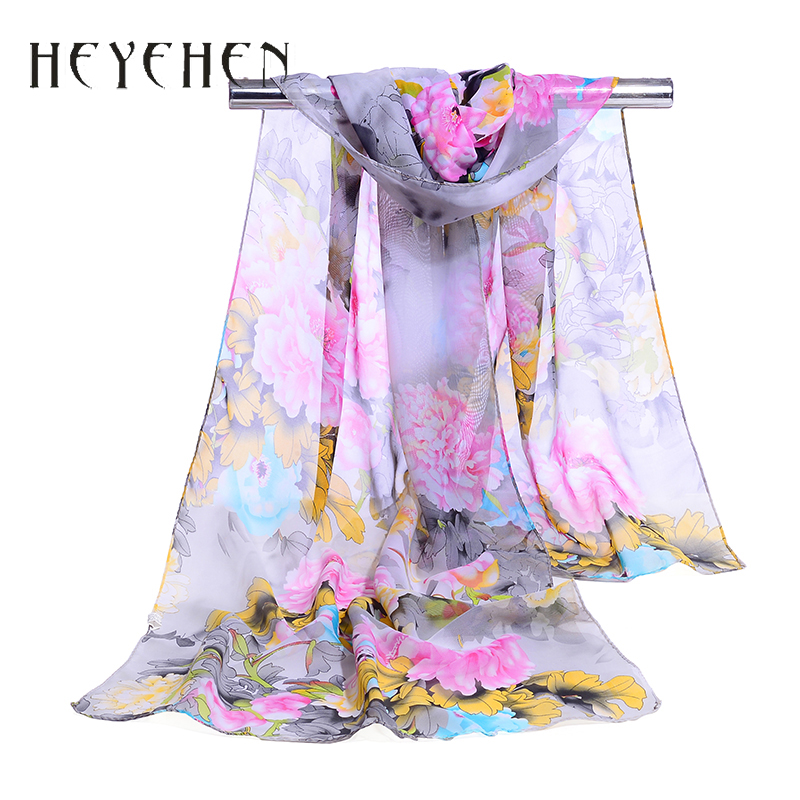 Summer Fashion Muslim Hijab Women Bandana Flower Chiffon Silk   Scarf   Female Foulard Summer Soft Long Shawl&  Wrap   50*160cm HY49