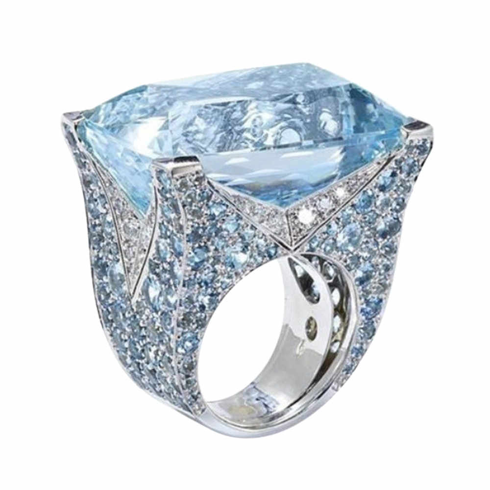 Exquisite Ring Sea Blue Jewelry Anillos Cocktail Party Bridal Engagement Wedding Rings For Women Band Beautiful Aneis Jewelries