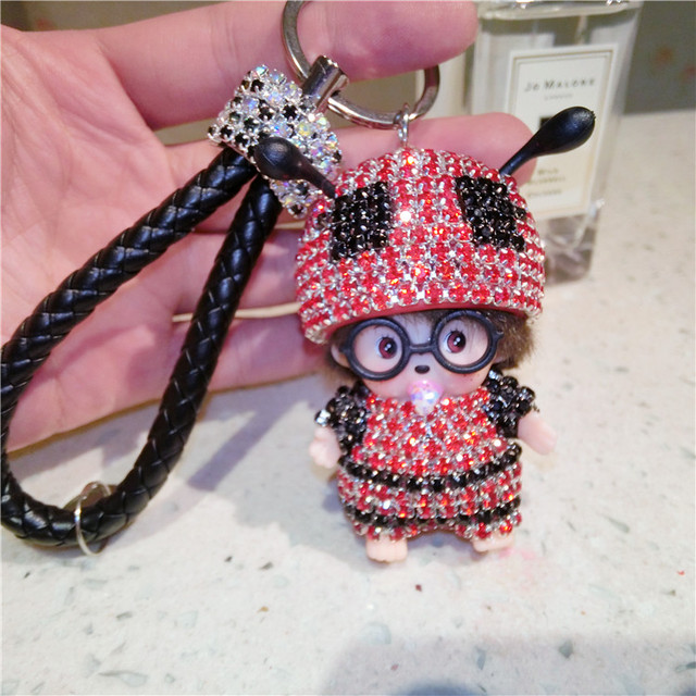 2017Hot Sale Monchichi Keychain Kiki Key Chain Cute Dolls Monchichi Women Bag Charm Keyholder Luxury Ladybug Trinket Porte Clef