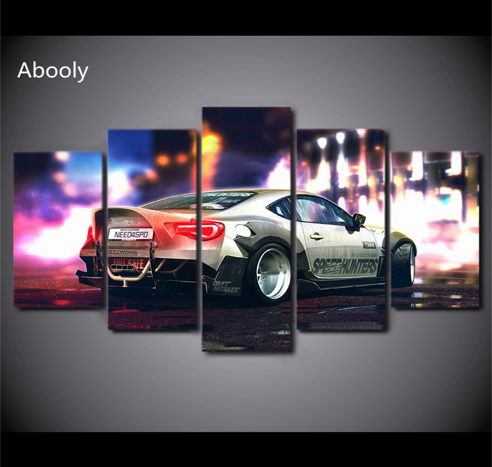 5Planes Canvas Art Picture Busy Street Sports Car Canvas Painting Pictures Poster Print For Living RoomPictures Canvas Painting