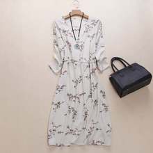 new arrival 100% silk female dress women pure silk dress small floral print dress china style women silk dress-b200