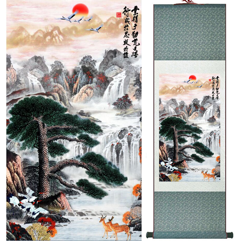 Mountain and river painting Home Office Decoration Chinese scroll painting mountain and River painting LTW2017121522