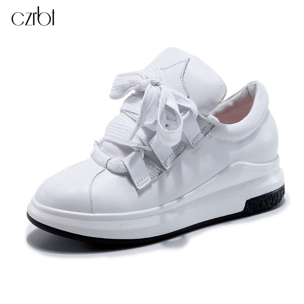CZRBT Women Genuine Leather Shoes Woman Solid Color Round Toe Lace-Up Flat Shoes 2017 Spring Autumn New Casual Shoes Black White 2017 new women shoes genuine leather casual shoes flats breathable lace up soft fashion brand shoes comfortable round toe white
