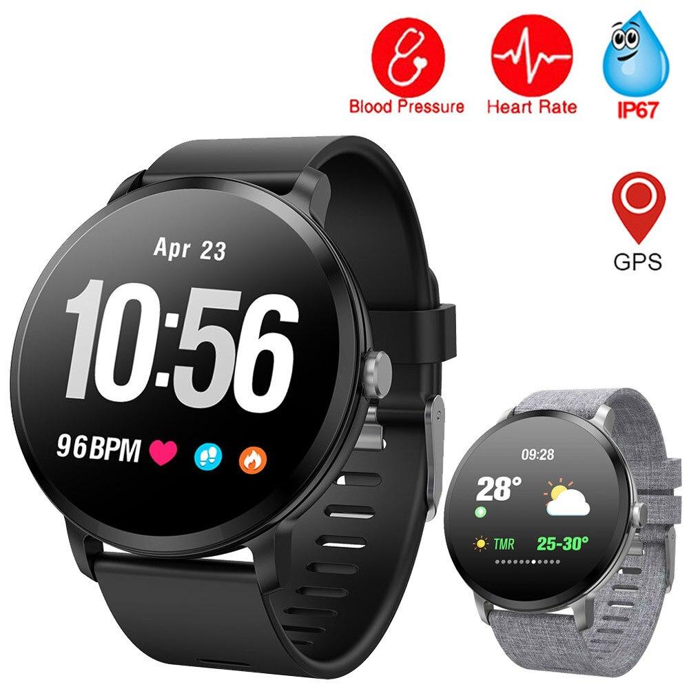 Montre intelligente pression artérielle V11 1.33 pouces couleur écran bande intelligente étanche GPS Fitness Tracker moniteur de fréquence cardiaque Smartwatch
