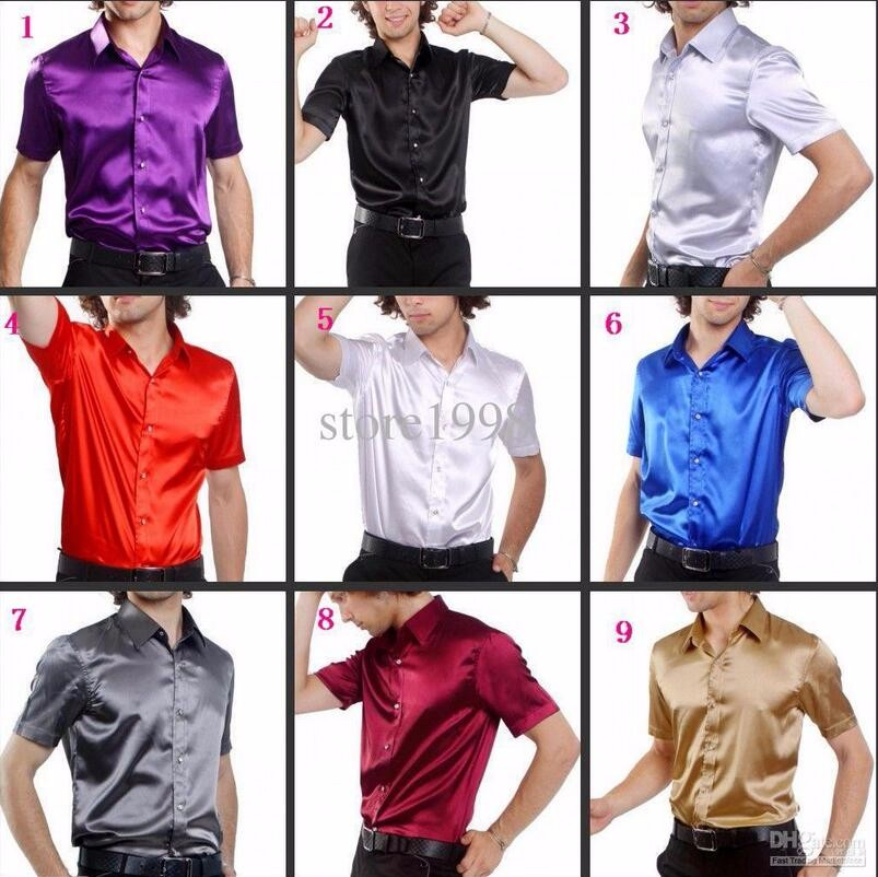 0-2  Hot Sale Men Short Sleeve Wedding Groom Silk Shirts 9 Colors Bridegroom Shirt