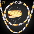 U7 316L Stainless Steel Chain Necklace Set Two Tone Gold Plated Dollar Pattern Bracelet Necklace Men Jewelry Set Wholesale S700