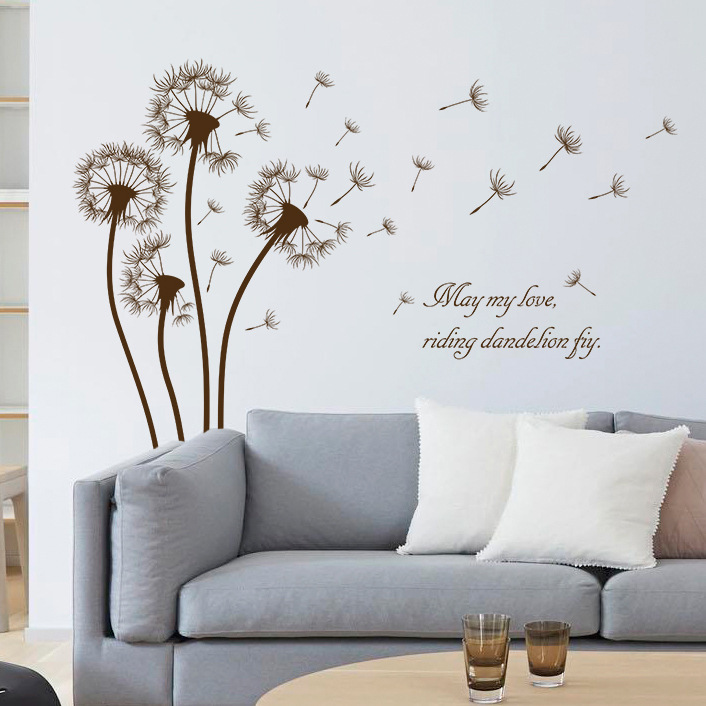 2017 dandelion flower wall sticker decals black brown for Black wall mural