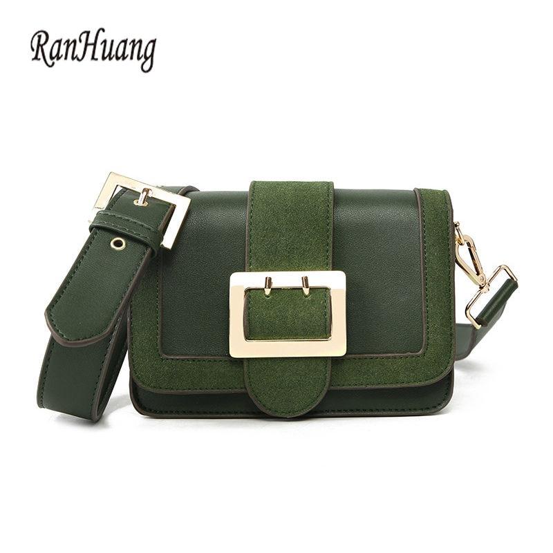 RanHuang Women High Quality PU Leather Handbags Women Fashion Small Handbags Women's Vintage Shoulder Bags Green Messenger Bags