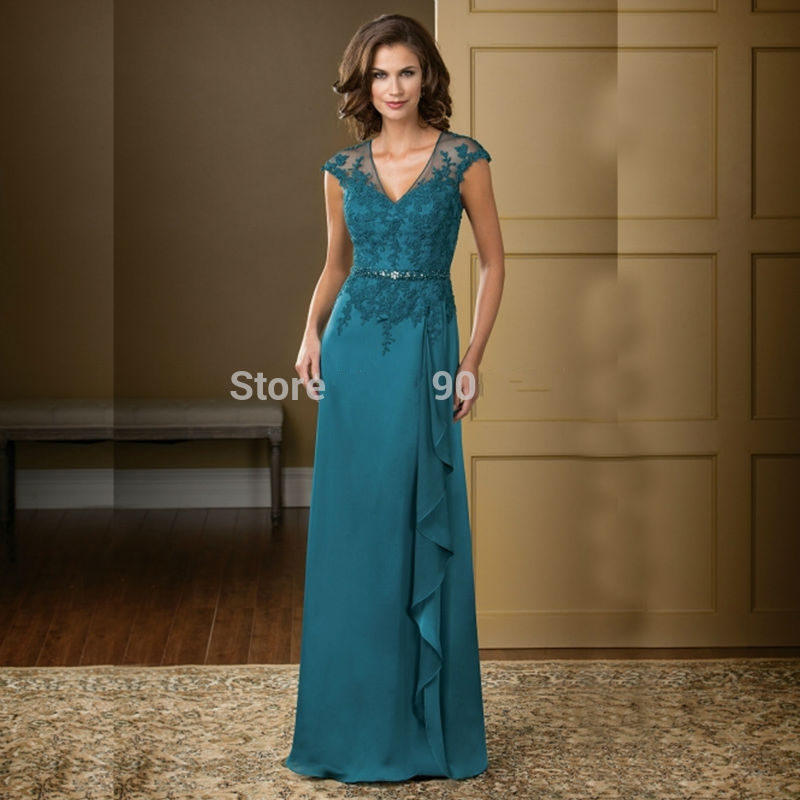 Turquoise mother of the bride dresses guest chiffon bride for Turquoise wedding guest dress