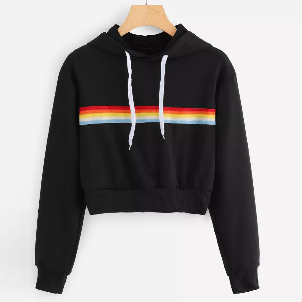 Women Hooded Sweatshirt Long Sleeve Crop Patchwork Blouse Pullover Tops