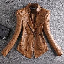 YTNMYOP Тонкая Повседневная кожаная женская куртка цвета хаки, Весенняя кожаная одежда, женская кожаная куртка на молнии с длинным рукавом и стоячим воротником