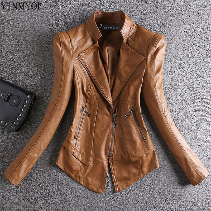 YTNMYOP Slim Casual   Leather   Women Jacket Khaki Spring   Leather   Clothing Female Long Sleeve Stand Collar Zipper   Leather   Coat