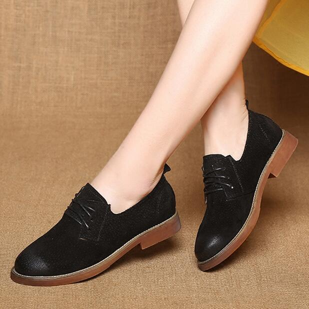 2018 Spring Retro women Oxford boat Shoes Genuine Leather Flat Shoes Women Lace Up Round Toe Casual Flats Shoes Ladies Footwear gogc 2018 new style women shoes with hole breathable women flat shoes women sneakers casual shoes summer spring lace up footwear