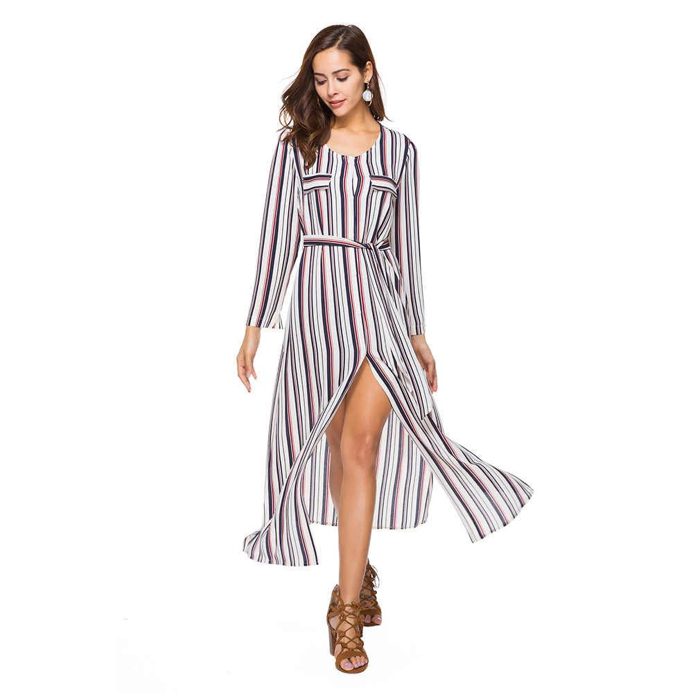 4b635cbb7f6 Женское платье с длинным рукавом Осень Boho Chic платья больших размеров  модная одежда в полоску красивое