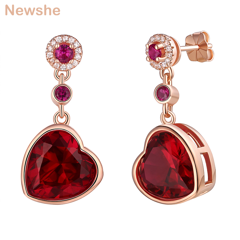 Newshe 925 Sterling Silver Rose Gold Color Dangle Drop Earrings 6 Ct Red Rhinestone Heart Shape AAA CZ Fashion Jewelry For Women stylish silver plated cut out rhinestone heart earrings for women