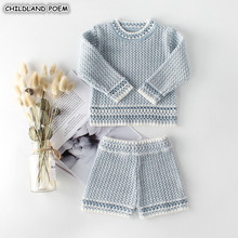 Baby Girls Clothes Autumn Spring Knit Baby Clothes Set Handmade Woolen Baby Boys Clothing Set Infant Newborn Baby #8216 s Set For Boy cheap Sets Fashion Cashmere COTTON Worsted Unisex Full Solid O-Neck Covered Button REGULAR baby clothing set Coat Fits true to size take your normal size