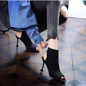 Image 3 - SMTZZJ New 2019 Fashion Brand Design Red Black Knit Summer Sandals Women Pumps High heels Open Peep Toe Ladies Hollow Shoes