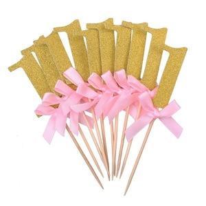 Image 2 - 10/6Pcs גליטר נייר 1 Cupcake Toppers ראשון מסיבת יום הולדת קישוטי 1st יום הולדת שלי אחד שנה תינוק ילד ילדה וגינה