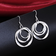 Kiteal 2018 wholesale 925 stamp silver plated earring Top quality elegant cute women classic fashion jewelry gift 3 loop AE542