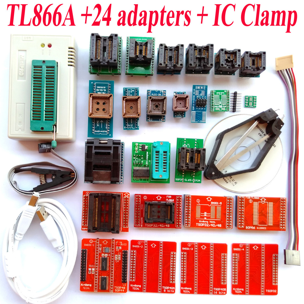 TL866A programmer 24 adapters font b IC b font CLAMP High speed TL866 AVR PIC Bios