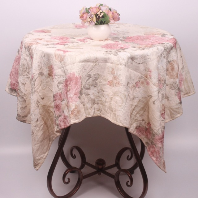 Marvelous New Arrival Pink Floral Tablecloths Vintage Polyester Cotton Blend  Christmas Table Cloth Rectangular Square Wedding Table