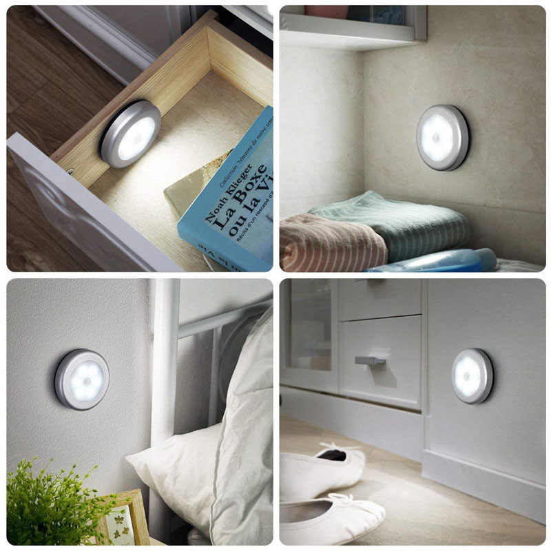 PIR датчик движения 6 светодиодов Светодиодные лампы под шкаф сухой аккумулятор ночник беспроводной настенный светильник кухня лестницы теплый белый свет