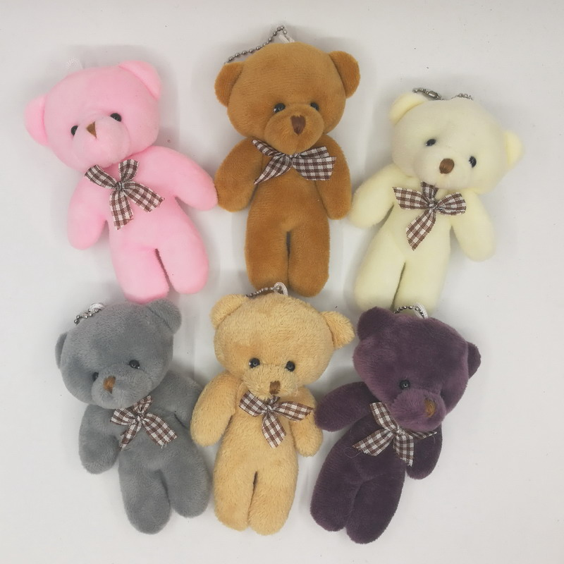 """12cm(4.7"""") Lovely Siamese Teddy Bear With Bow Plush Pendants Toys For Key chain/Bouquet/Phone/Bag/Decorative Accessories gift"""