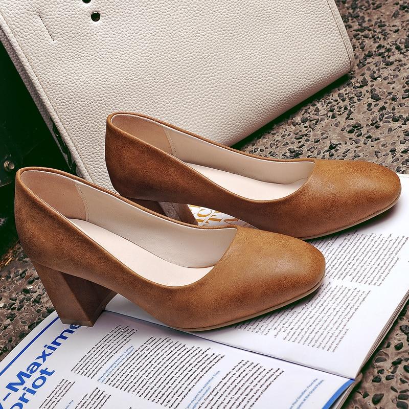 ФОТО AIWEIYi Women Spring Summer Thick Heel High Heel Shoes Black Brown Square toe Elegant Women Pumps Slip on Casual Shoes Women