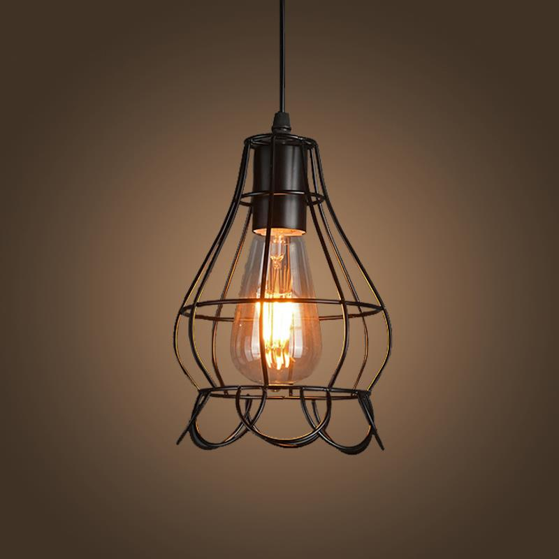 vintage pendant lights american country style industrial loft lamps iron cage led pendant lamp hanging light american country style font