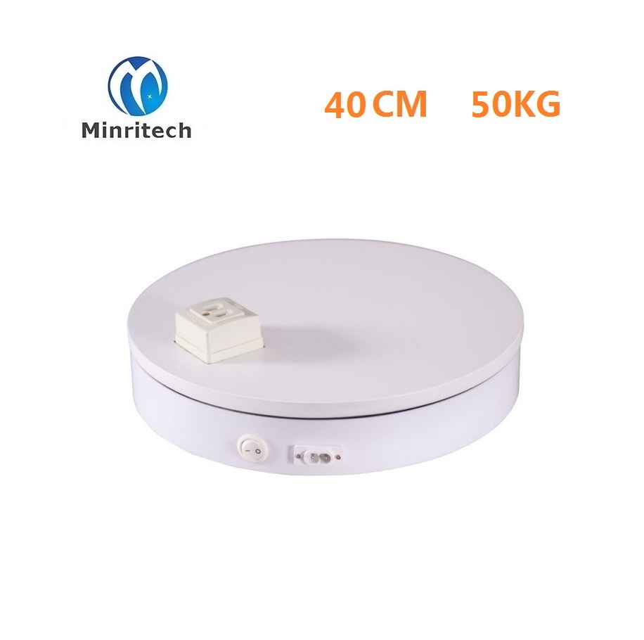 360 Angle 50KG Loading 40cm With socket white Rotary rotating Display Stand Rotating Turntable display box shoot table hq ss10 cake making and decorating turntable baking tool rotating table of cake show display stand