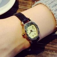 2016 Hot Sale Vintage Rome Dial Alloy Black Brown Blue Genuine Leather Small Wristwatches Watches For