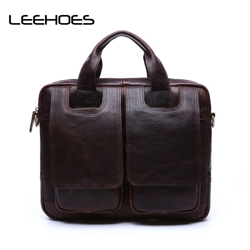2017 First Layer of Leather Retro Men Handbag Crazy Horse Skin Male Messenger Bags Briefcase Genuine Leather Handle Computer Bag joyir men briefcase real leather handbag crazy horse genuine leather male business retro messenger shoulder bag for men mandbag