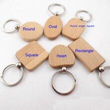 100 adet boş dikdörtgen ahşap anahtarlık DIY promosyon etiketleri anahtarlık kolye promosyon hediyeler