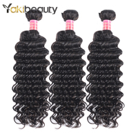 YAKIBEAUTY Raw Indian Deep Curly Hair Weave Bundles 3PCS Natural Color Indian Human Hair Weave Bundles 8-28