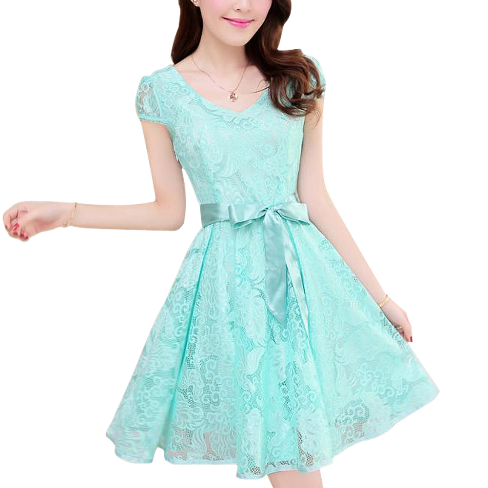 SYB 2016 NEW Summer Fashion Cozy women clothes Noble elegant short sleeve lace chiffon dress Korean casual sweet solid-Sky blue